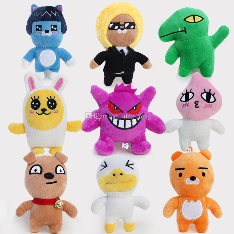 Kakao Friends Plush Doll Toys 9 Styles Kakao Friends Cartoon 12CM Neo Tube Con Muzi Peach RYAN Funny Stuffed toys Free EMS A01