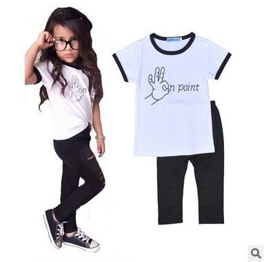 d8941a258 2019 Summer Kids Girl Two Piece Suit T Shirt And Hole Tight Pants For Little  Girl Fashion Sweet Clothing Sets White T Shirt Black Pants Discount From ...