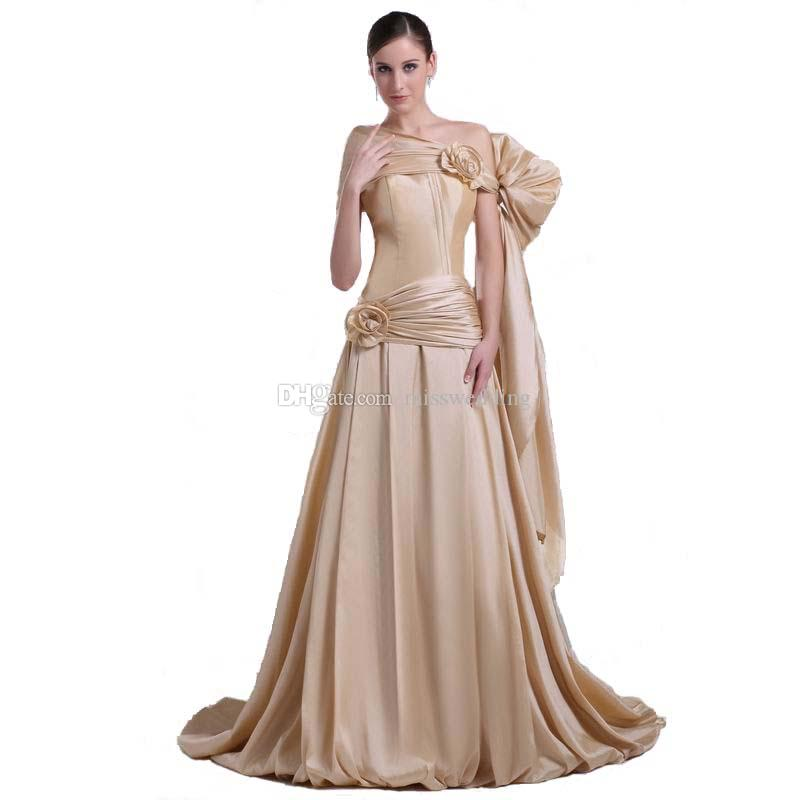 Special Occasion Champagne Taffeta Evening Dress Sweep Train Latest ...