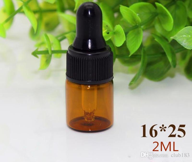 Freies Verschiffen 1 ml 2 ml 3 ml Braunglas Tropfflaschen mit schwarzer Kappe Ätherisches Öl-Flasche Kleinen Parfüm-Flasche