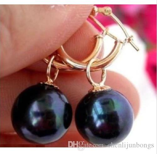 HOT PERFECT ROND 10-11MM TAHITIAN BLACK PEARL EARRING ORO 14K SOLIDO