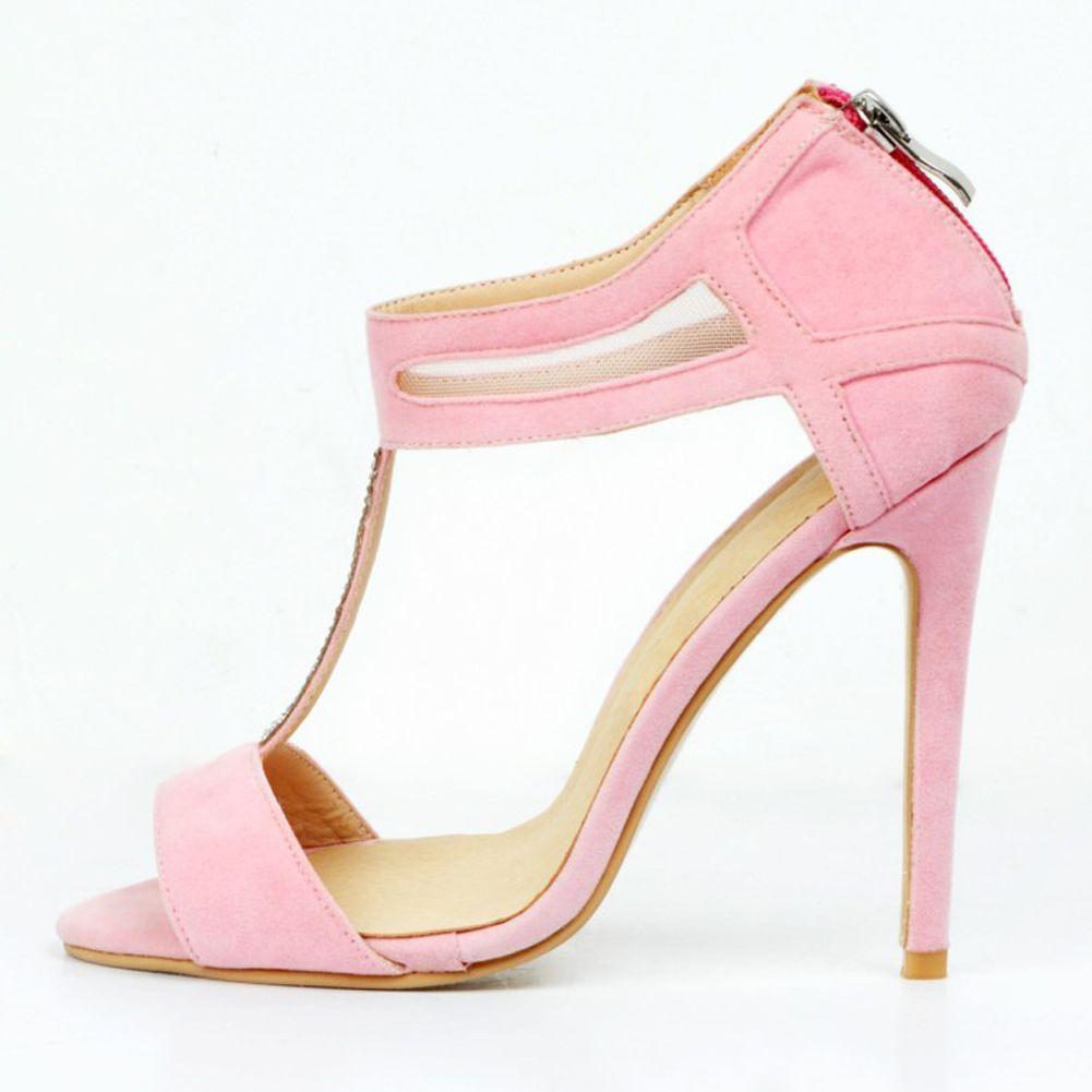Zandina Vente Chaude Des Femmes De Mode À La Main 100mm T-strap Peep-Toe Talon Haut Stiletto Chaussures De Soirée Rose XD089