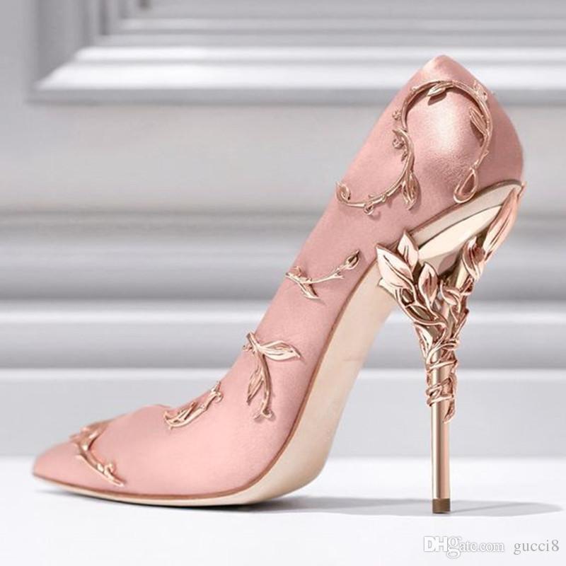 Высокое качество листьев насос мода металлик дизайнер острым носом роскошные ну вечеринку свадебные туфли женщина взлетно-посадочной полосы высокие каблуки насосы реальные фото размер 42