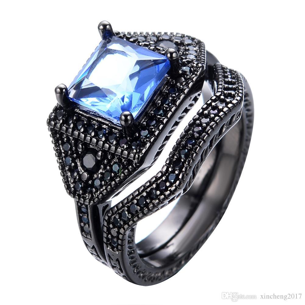 JUNXIN Crystal Light Blue Ring Sets For Wedding Black Gold Filled