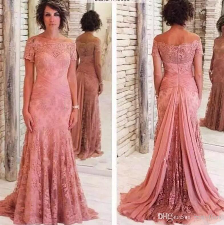 c7b5eb4bce6 2018 Full Lace Pink Mother Of Bride Gowns Off The Shoulder Short Sleeve  Mermaid Long Formal Evening Party Wear Custom Alfred Sung Mother Of The  Bride ...