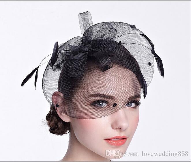 f9fbdfce Elegant Ivory/Black Hats Bridal Yarn Headband With Hairpin/ Hairband  British Vintage Little Hoodie Lady Dinner Dress 2017 2018 Newest Wedding  Hats For ...