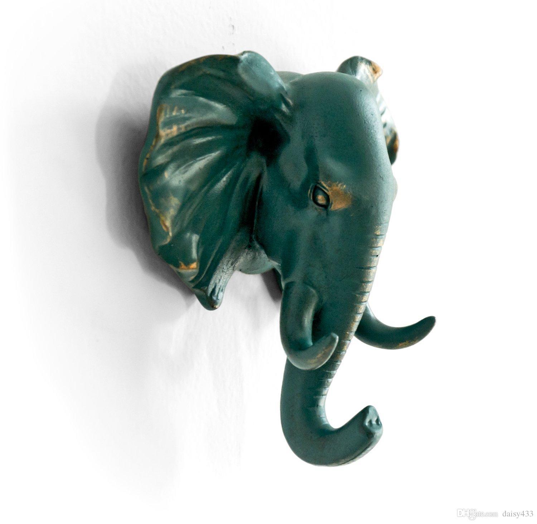 Tête d'éléphant simple crochet mural / crochet en forme de manteau crochet de chapeau robuste, rustique, recyclé, cadeau de décoration, couleur bronze rustique