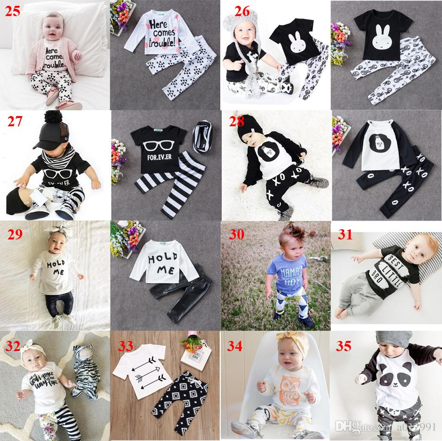 35 Style Ins Baby Clothing Sets Kids Baby Boys Girls Outfits Clothes T-shirt Tops+Pants Set Summer Outfits Batman Letter T Shirts Pants