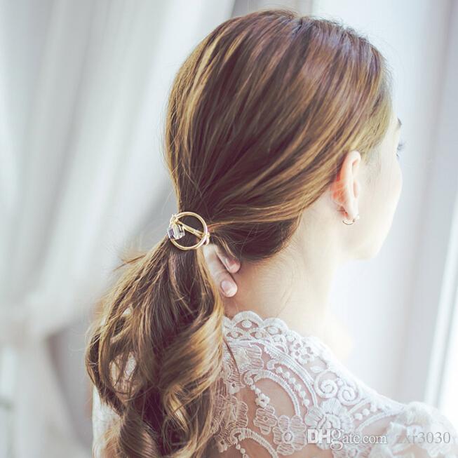 Accessori capelli Donna Copricapo Cerchio rotondo con Crystal Gum capelli Ragazze Ornamento Cerchietti in gomma Fasce elastiche capelli