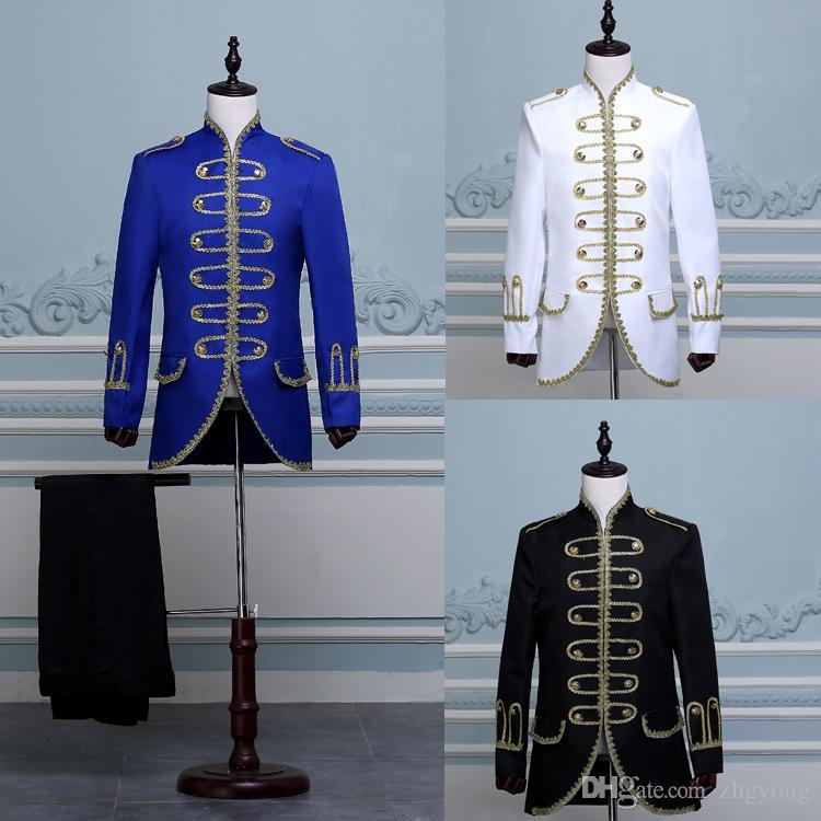 2018 Cour européenne robe de style Suits Noir Bleu Rouge Blanc Slim Blazers Pantalons Ensemble robe de marié mariage Chanteur Choeur hôte Costume de scène