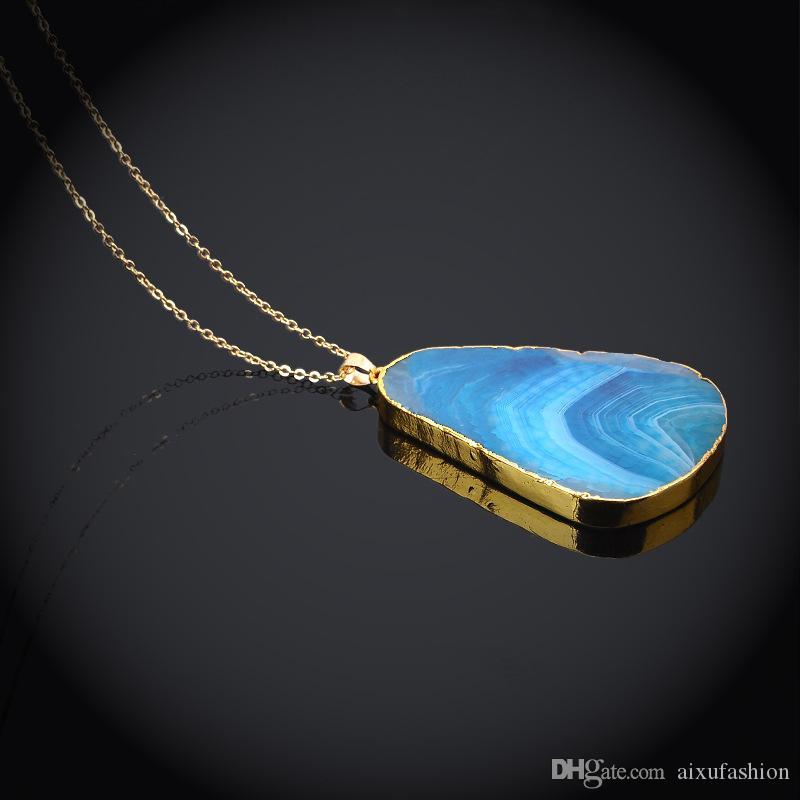 Natural Stone Choker Crystal Cutting Grain Quartz Pendant Necklace Original Stone Fashion Jewelry Charm Chains Pendant Necklaces