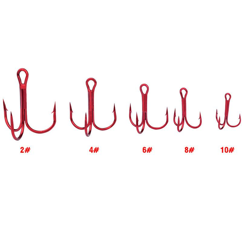 Red Painted Freshwater Fishhooks High Carbon stainless steel Fishing Hooks 2#/4#/6#/8#/10# Round Bent Barbed Treble Hook