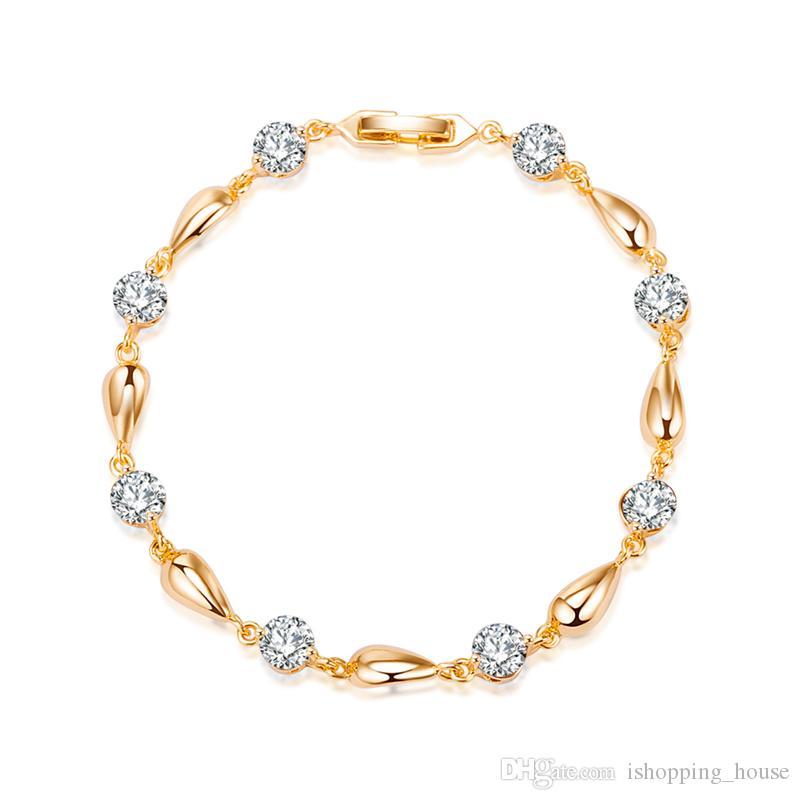 Charm Jewelry 18 K oro amarillo plateado de calidad superior CZ Waterdrop pulsera brazalete para niñas mujeres para fiesta SL0071