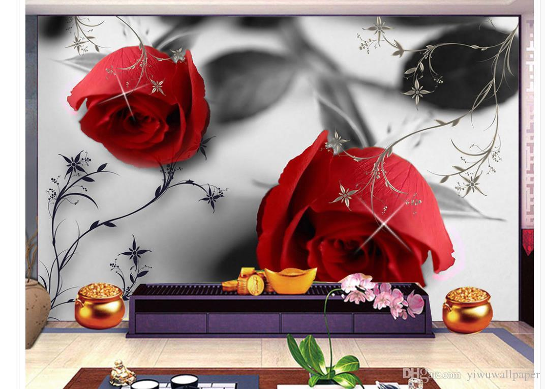Modern black and white rose pattern TV background wall mural 3d wallpaper 3d wall papers for tv backdrop