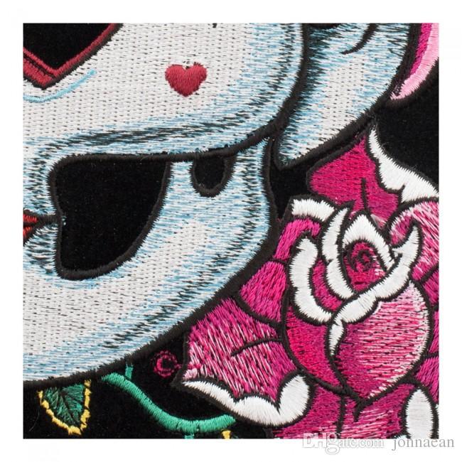 Любящие Глаза Pin Up Girl Череп Розовая Роза Патч, Дамы Назад Вышитые Железа На Патчи 7 * 8.5 ДЮЙМОВ Бесплатная Доставка