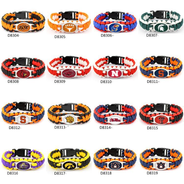 Fashion Footbal Team Charme Paracord Survival Bracelet Sport Collaboration NCAA En Plein Air Camping Bracelets Mix couleur DHL
