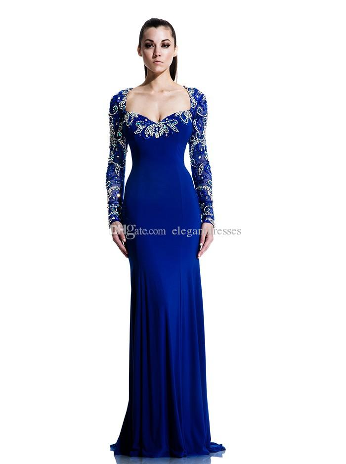 Royal Blue Mermaid Dubai Cape Evening Dress 2017 Party Sexy Long Sleeve Saudi Arabic Prom Dresses Sweep Train Formal Pageant Gowns