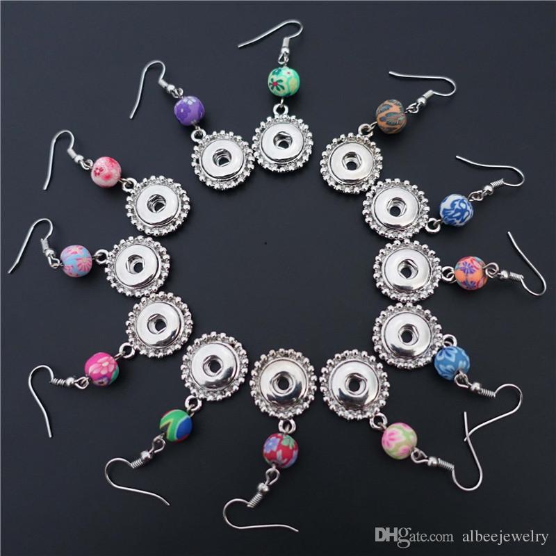 Микс цветов мода женщины глина Фимо Нуса куски металла имбирь 12 мм Оснастки кнопки серьги ювелирные изделия для девочек