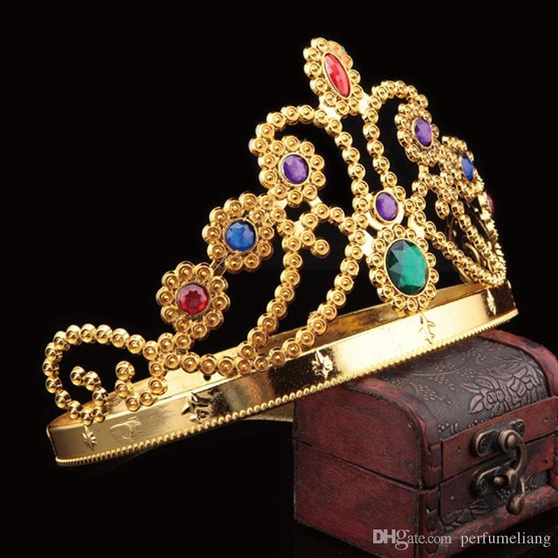 Cosplay de la manera Crown King Headwear Queen Grommet Corona Real Con Decoración de Diamante Fiesta de Halloween Suministros ZA1878
