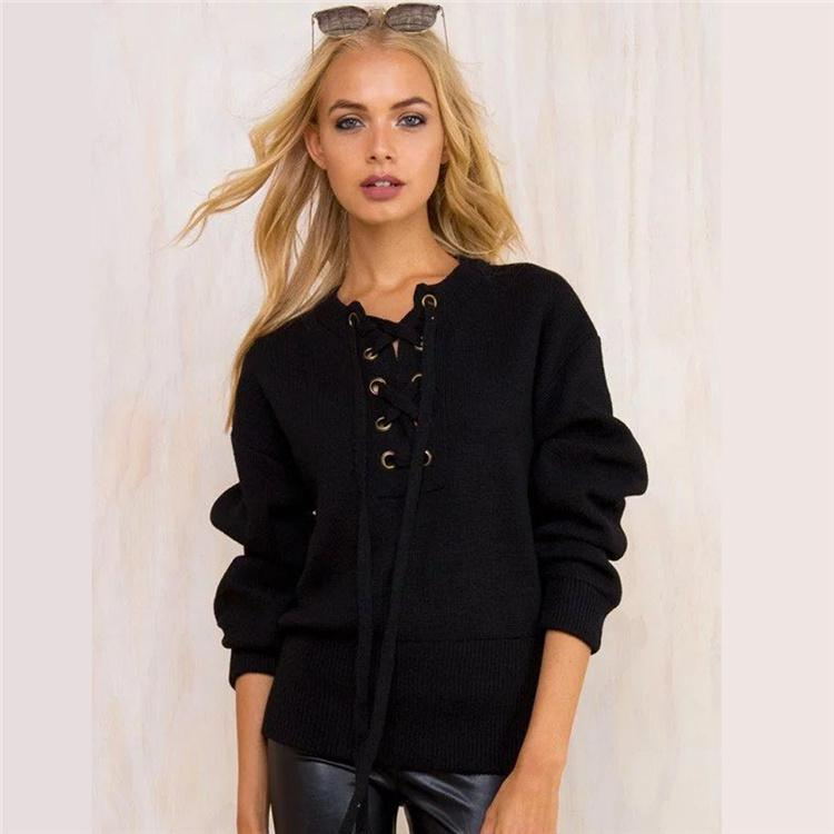 Femmes 2017 Printemps Lace up pull Casual lâche ceinture nervuré top knitwear Sexy pull Élastique ourlet pull outwear taille libre DHL DZY171010