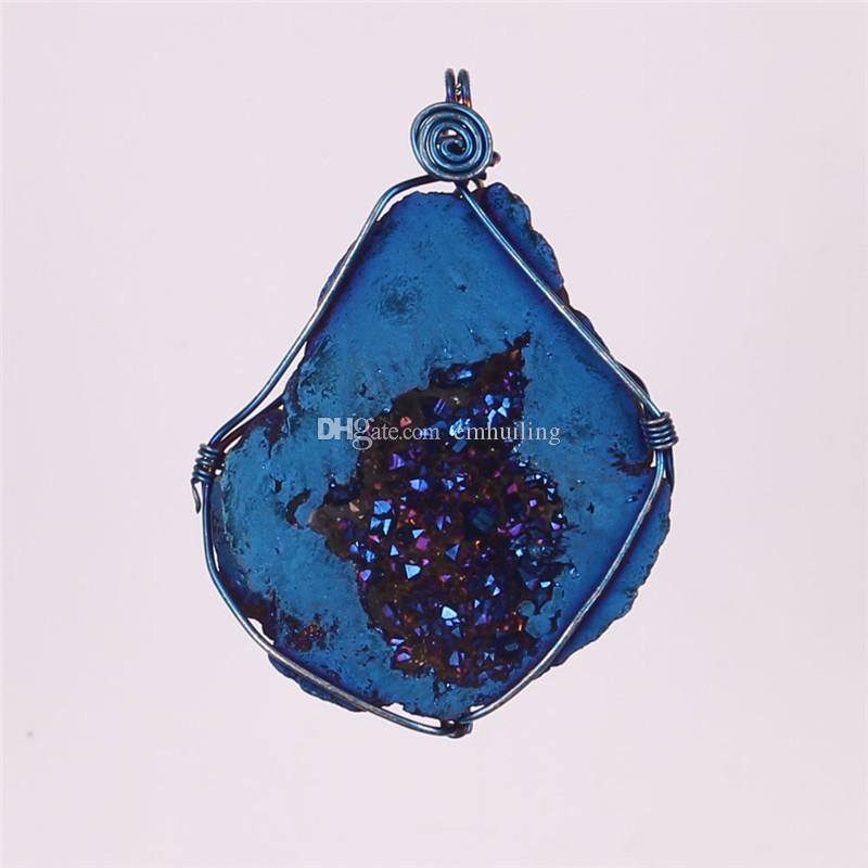 Novelty Wire Wrap Multi-color Titanium Coated Flame Aura Raw Crystal Agate Druzy Quartz Cluster Geode Stone Pendant Bead Gemstone Specimen