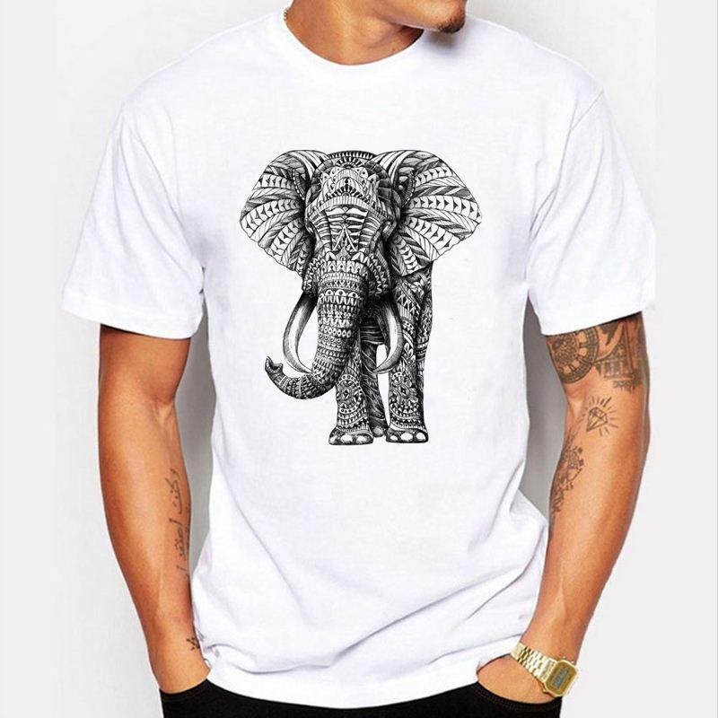New 2017 Fashion Elephant Prints T Shirt Men Funny Animal Design ...