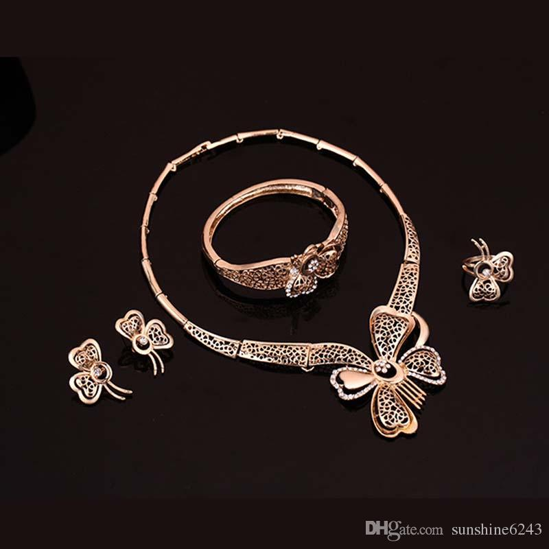 Hollow Butterfly Jewelry Sets White Gemstone Necklace Bracelet Earrings Rings Plated 18K Gold Jewelry Four-piece Sets