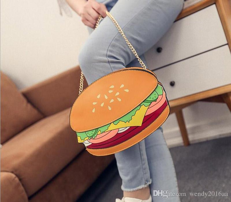 2017 sacchetto di catena creativo personalità carino min hamburger borse a mano ice cream pu cross body girls borse