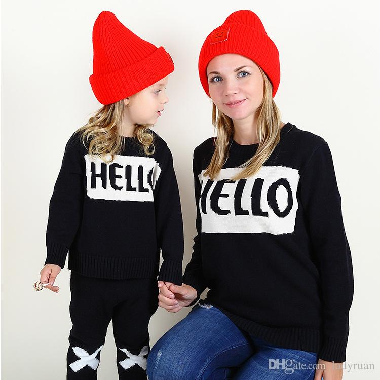 Ins Same Autumn Winter Family Matching Outfits Burst Models Hello Sweater Hooded Sweaters Western Style Clothes Holiday