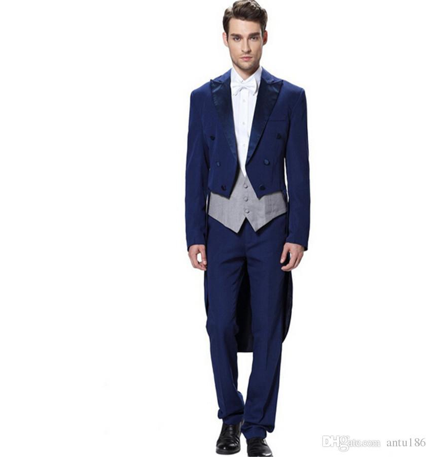 Yeni tasarım erkekler takımları klasik kraliyet mavi damat takımları tailcoat yakışıklı sağdıç smokin balo takımları ceket + yelek + pantolon