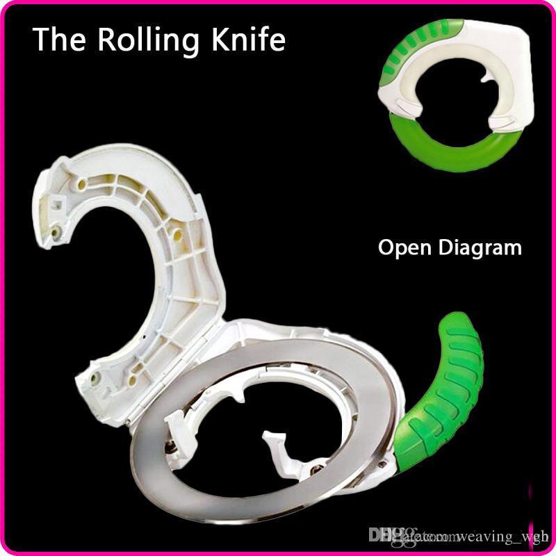 60 unids DHL cuchillo rodante Uso de la cocina Cuchillo redondo universal con embalaje minorista Verde Cuchillo de cocina fácil de usar