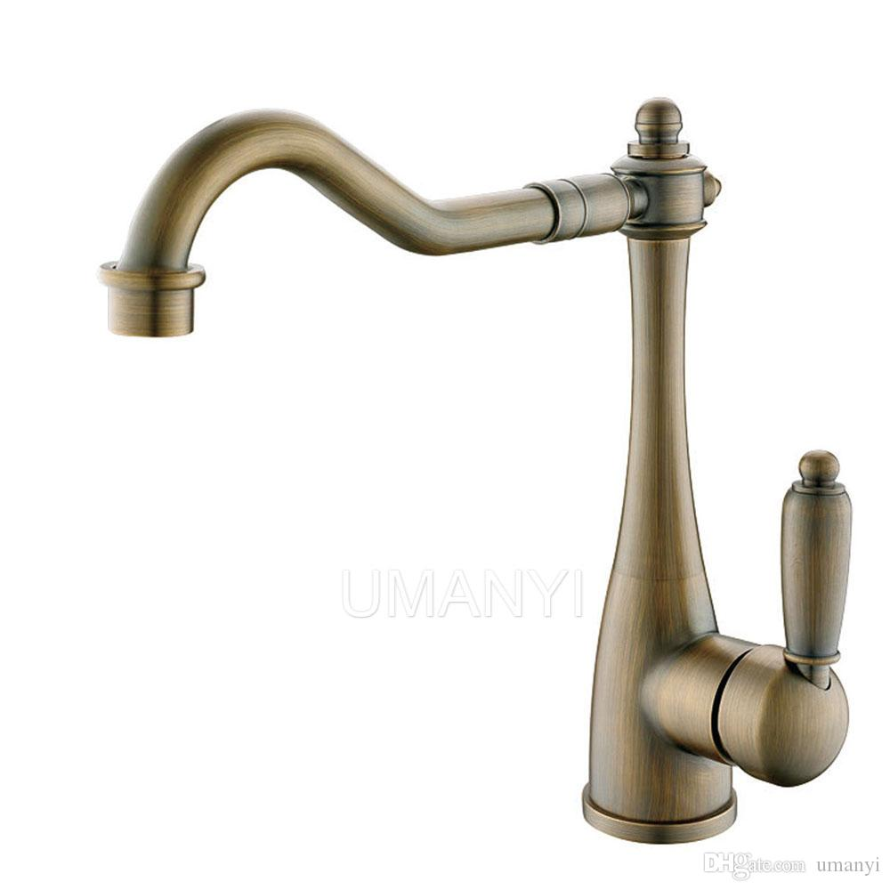 360 Rotatable Spout Bathroom Basin Faucets Antique Brass Brushed ...