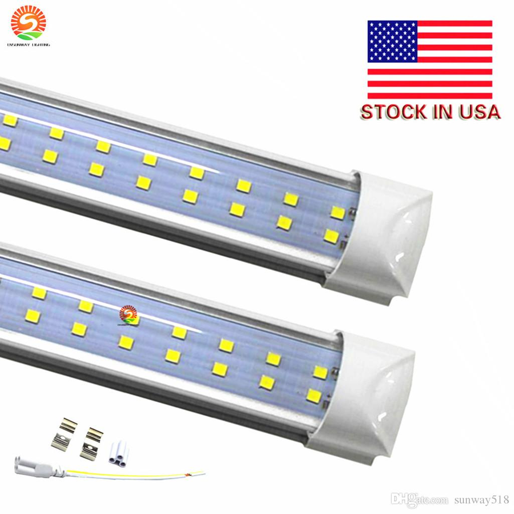 8 Feet V Shaped Double Row Smd2835 Led T8 Integrated Tube Light 8ft Wiring Diagram 2400mm 65w 6800 7200lm Fluorescent Lamps Ac 85 265v Bulbs Circuit