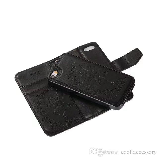 Strap 2 in 1 Leather Wallet della cassa del sacchetto IPhone 8 7 PLUS SE 5 5S 6S 6 Huawei P10 P8 LITE 2017 Y5 Y6 II TPU Uccello basamento della ragazza copertina magnetica