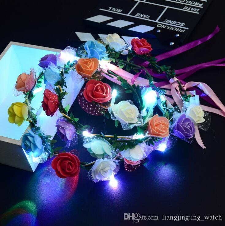 2018 Flashing Led Glow Flower Headbands Light Up Party Floral Hair