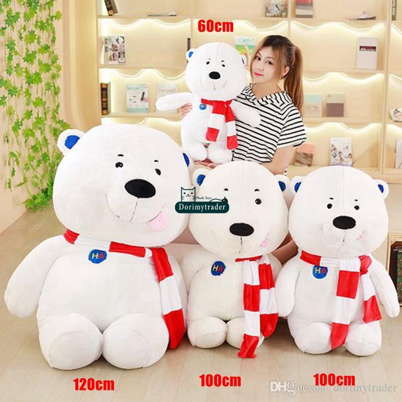 Dorimytrader 120cm Huge Pop Soft Cartoon White Bear Plush Toy Stuffed Anime Polar Bear Pillow Doll Kids and Adult Gift 47inches DY61702