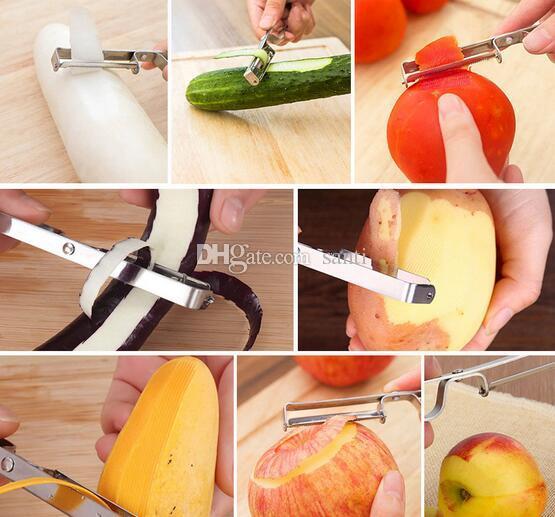 Cortador De Aço Inoxidável Vegetal De Frutas Maçã Slicer Batata Peeler Parer Ferramenta