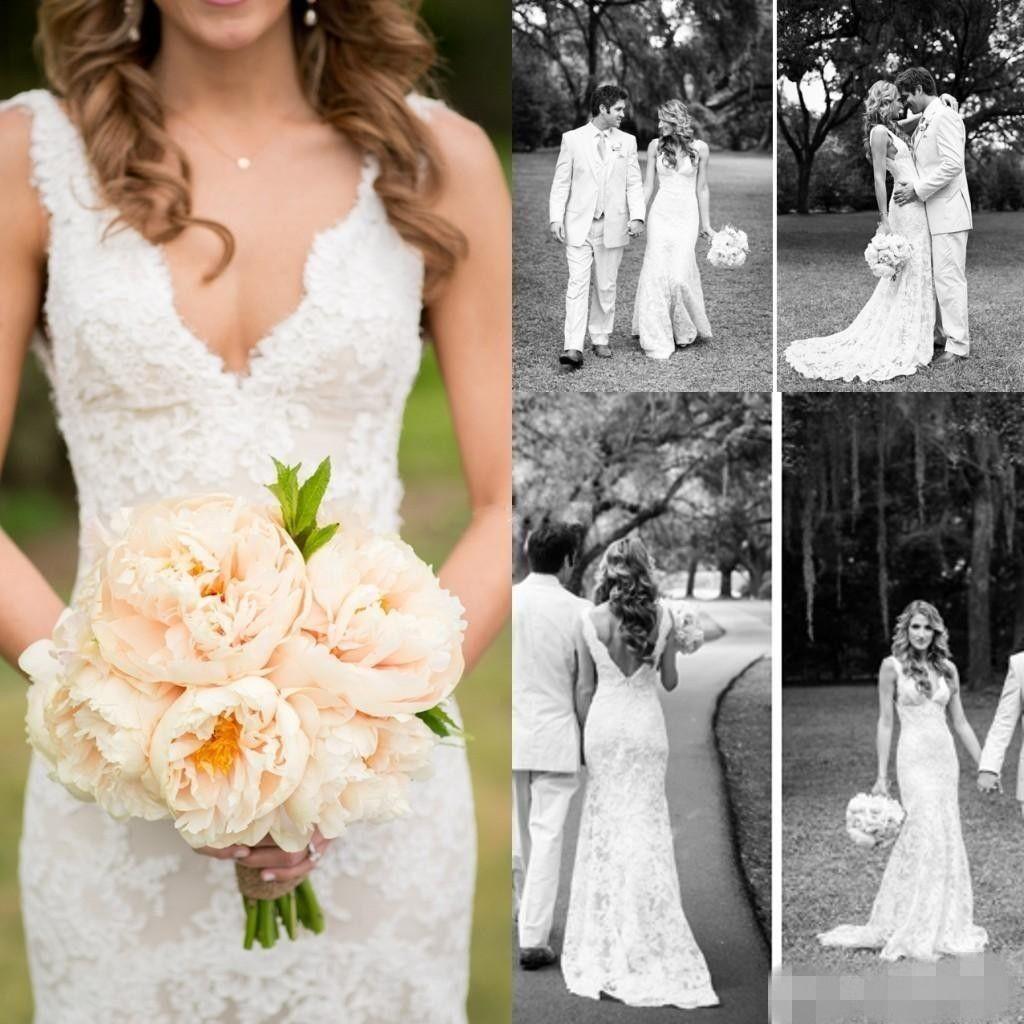 2020 Lace Vestidos de casamento profundo decote em V Sem Costas Manga Mermaid nupcial Vintage Vestidos Plus Size Bohemian Boho Bride Dress