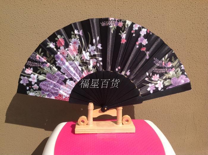 휴대용 숙녀 접이식 핸드 팬들 웨딩 파티 호의 실크 천 꽃 댄스 쇼 소품 팬 일본식