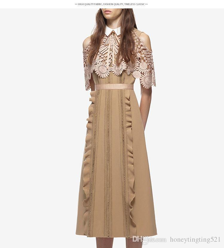 fbe298cd6ea6 New women's runway fashion peter pan collar off shoulder short sleeve  embroidery lace floral patchwork ruffles chiffon midi long dress