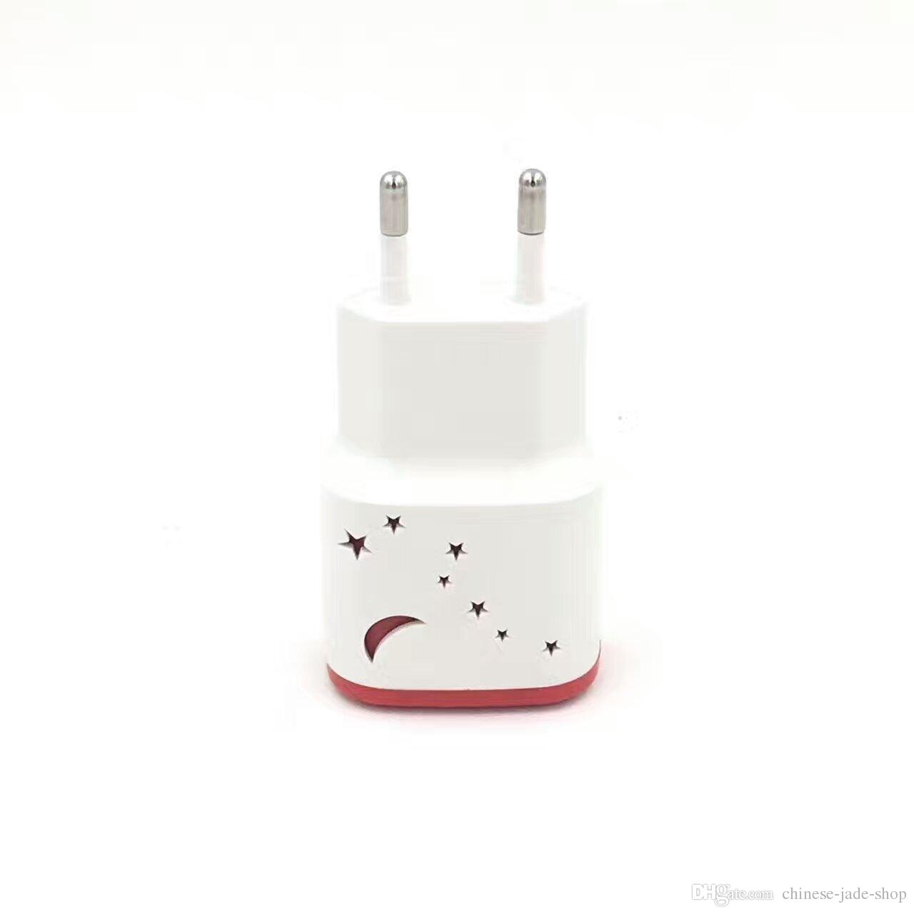Big Dipper Pattern with Led 2 USB Ports 5V 1.0A Real Wall charger Adapter for Smart phone