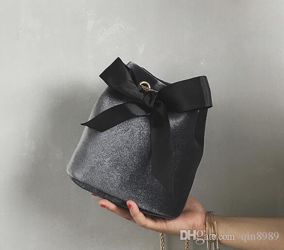 2017 nova cor da moda simples arco de veludo ombro cadeia balde saco bolsa atacado maré sul-coreano