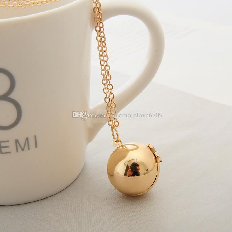 Hot Silver/Gold Plating Secret Message Ball Locket Necklace Packet Pendant Charms Friendship Best Friend Women Men Holiday Gifts Jewelry