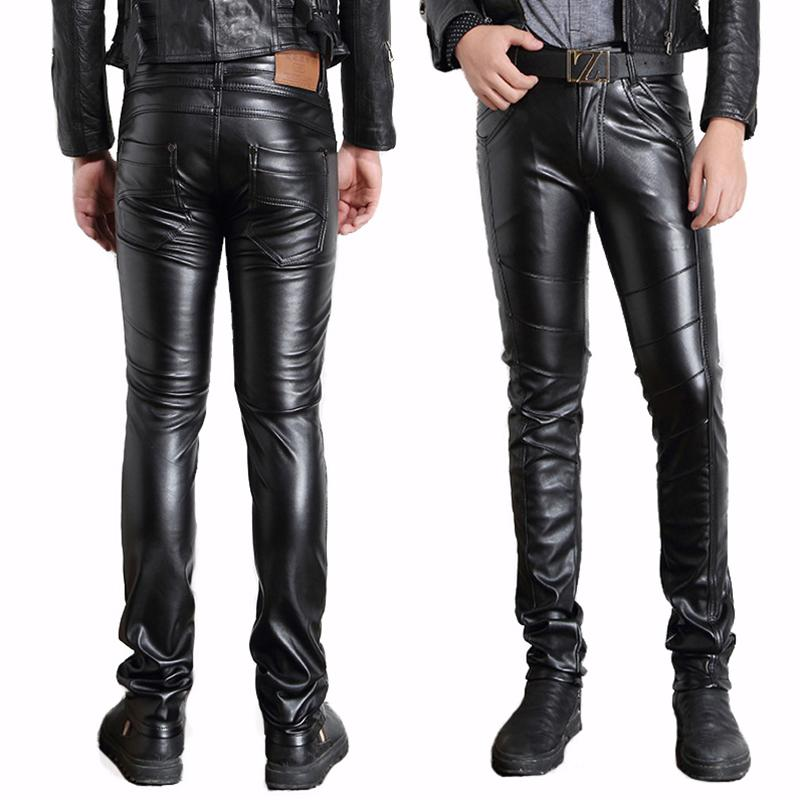 54b00729bfcb 2019 Wholesale Male Black Faux Leather Pants Motorcycle Biker Ridding PU  Trousers For Men Fashion Slim Fit Pencil Pant From Erzhang, $33.08    DHgate.Com