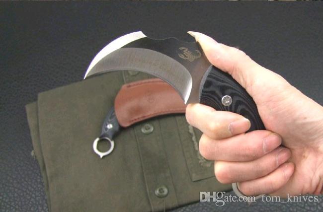 Scorpion Claw Karambit Pocket knife Fixed Blade combat camping Knives micarta handle Christmas gift folding knife