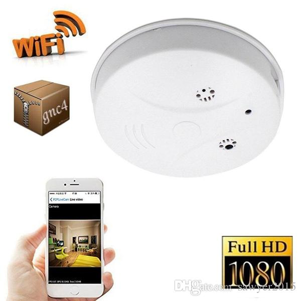 Wireless Wifi Smoke Detector MINI camera HD 1920*1080P Smoke detector Video Camcorder with Motion Detection home security DVR