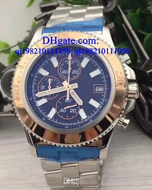 Lüks saatler Ücretsiz kutu erkekler superocean ii miras 46 İzle deri kemerler İzle kuvars chronograph İzle mens saatı