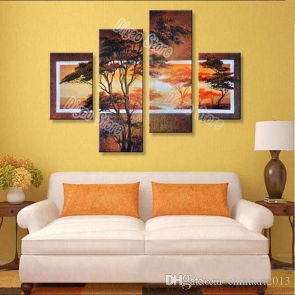 4 Unidades pintadas a mano de paisaje puro pintura al óleo sobre lienzo grueso pintura de árbol de pino hogar moderno arte de la pared decoración regalo