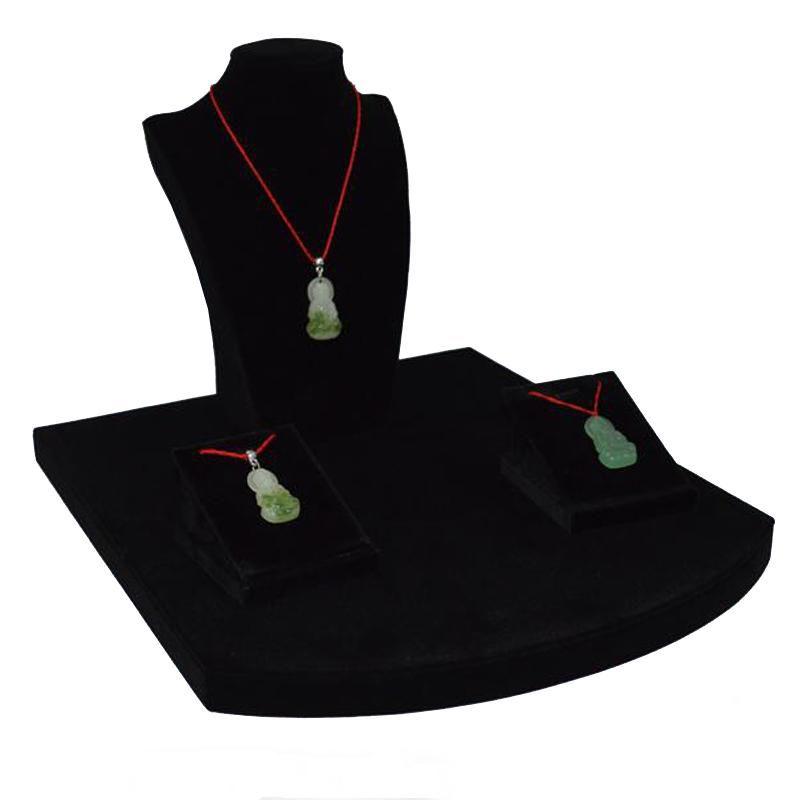 Wooden Jewelry Display Counter Showcase Black Velvet Necklace Bust Pendant Organizer Storage Display Stand Kit Black Stent 30*35*29 cm