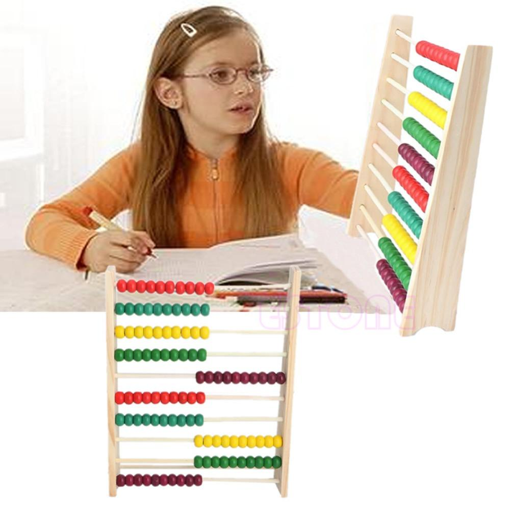Wholesale- Wooden 10-row Abacus Counting Colorful Beads Maths ...